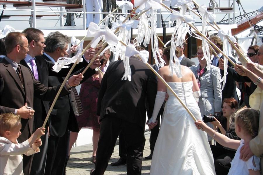 Detailbild von Hochzeit auf dem Wasser, Party im Hafen